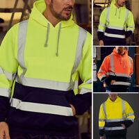 Mens Hi Vis Visibility Fleece Viz Safety Workwear Sweatshirt Hoodie Jacket Soft
