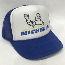 Michelin Man Tire Trucker Hat Vintage Snapback Blue Mesh Cap Script Logo