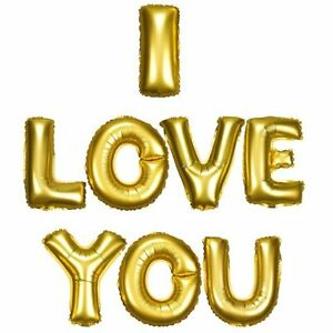 """16"""" 40 Silver Gold Letter Mylar Balloons I LOVE YOU Wedding Bridal Shower Party"""