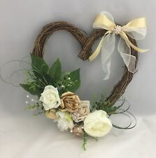 FRONT DOOR TWIG WREATH FLOWERS FOAM ROSE HOME WALL DECOR GLITTER HEART BROOCH