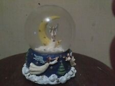 Vintage Holiday Angels With Trumpets Glitter Globe Wind Up Music hark the angels