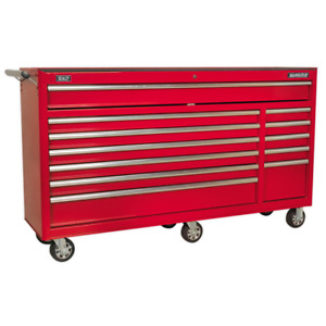Sealey Rollcab 12 Drawer with Ball Bearing Runners Heavy-Duty Red AP6612 (B)