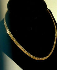Vintage gold metal rhinestones choker gorgeous estate jewelry necklace!