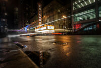 Chicago Theatre at Night Reflection Photo Art Print Poster 18x12 inch