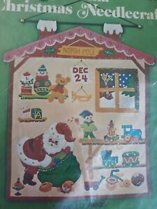 Vtg Bucilla Christmas Eve Santas Workshop Jeweled Panel Kit 2834 MCM Elf