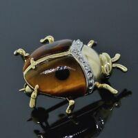 Handmade 14K Yellow Gold Tiger-Eye & Onyx Lady Bug Pin/Brooch