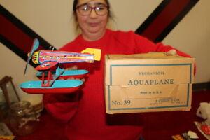 Antique Vintage J Chein Mechanical Airplane Wind Up Metal Toy W/Box WORKS