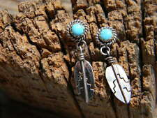 """Sterling silver Navajo ladies earrings turquoise 1"""" long hanging feather"""