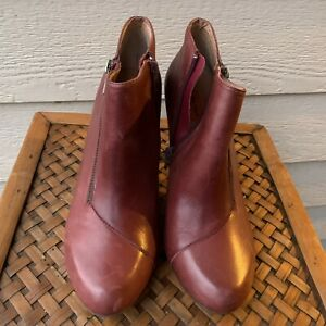 Miz Mooz Foster Pump Bootie Shoe Women Red Vintage Retro Round Toe Heels 10