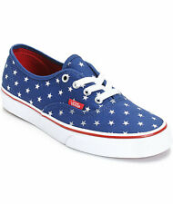 Vans Girls Kids Authentic Foil Stars Sneakers Shoes Blue Red 11 New