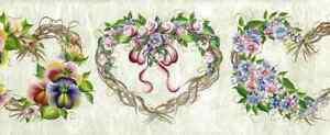 Heart Twig Wreaths Wallpaper Borde Vintage-Style 233B3395B FREE Ship