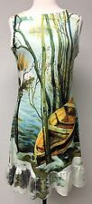 Vintage Concept Boutique Sleeveless French Impressionist Painting Boat Dress