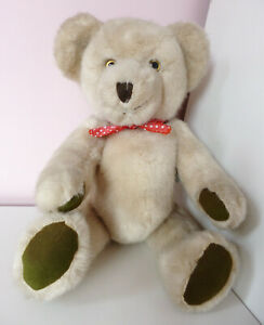 """Deans Childsplay Teddy Bear Cream Soft Plush Toy Green Paws Jointed Growler 14"""""""