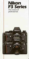 NIKON F3-F3HP-F3/T SLR 35mm CAMERA BROCHURE -NIKON F3-F3HP-F3/T-from 1992