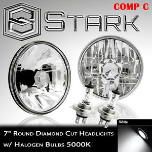 "H6024 Head Light Glass Housing Lamp Conversion Diamond Chrome 7"" Round PAIR (C)"