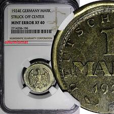 Germany - Weimar Republic Silver 1924-E 1 Mark NGC MINT ERROR XF40 SCARCE KM# 42