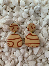 Posts - Beige And Rust Statement Earrings - Surgical Steel