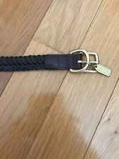 authentic COACH dog collar brown gold braided leather L rare good condition