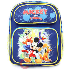 "Disney Mickey Mouse Friends 12"" School Backpack Goofy Donald  Bag -Blue Canvas"
