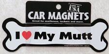 "Dog Magnetic Car Decal - Bone Shaped - I Love My Mutt - Made in Usa - 7"""