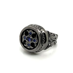 925 Sterling Silver Mens Sapphire Cross Floury Signet Ring Sz 9.5