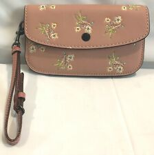 COACH LEATHER FLORAL BOW PRINT CLUTCH WRISTLET  PINK  21645  NWOT