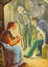 Vintage Czech modernist portrait oil painting signed Kupka