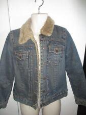GAP Faux Fur Lined JEAN Jacket Short SUPER CUTE DENIM Women's Small VINTAGE