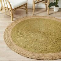 Uyuni Natural Jute Fibre Sage Green Round Floor Rug (M)150x150cm **FREE DELIVERY