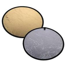 """23.6""""/60cm Multi Collapsible Portable Disc Light Reflector 2in1 Gold&Silver Q4T4"""