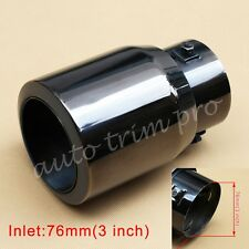 "Universal 76mm 3"" Inch Inlet Rear Exhaust Muffler Tail Pipe End Tip Accessories"