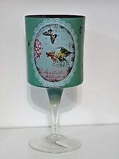 großes Windlicht / Kelch aus Glas Vogel blau vintage shabby rustikal Landhaus