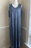 SOFT SURROUNDINGS Electra Maxi Dress Blue Heathered Cold Shoulder Size 2X