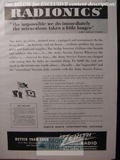 RARE 1943 Esquire Advertisement AD WWII ZENITH Radio for the ARMY!