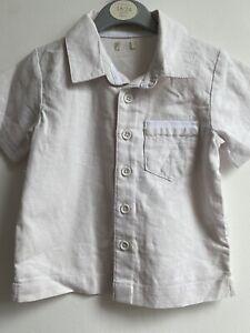 Bambini Linen Cotton Blend Baby Boy White Cream shirt 12-18mth/18-24mth NWOT
