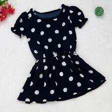 US Kids Baby Girl Lovely Puff Sleeve Polka Dot Summer Party Clothing Dress 90