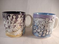 2 Disney 101 Dalmatians Coffee Mugs Cruella de Ville Black Blue