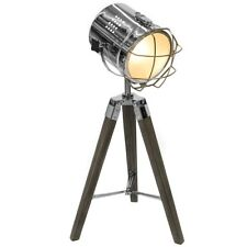 Vintage Style Hollywood Tripod Table Lamp Dark Wooden Legs Feature Lighting