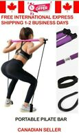 Pilates Bar Kit Resistance Band Portable Home Gym Workout Package Yoga Exercise