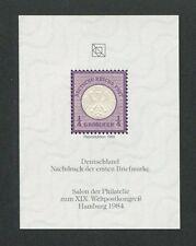 GERMAN REICH No. 1 OFFICIAL REPRINT UPU CONGRESS 1984 MEMBERS ONLY !! RARE d8636