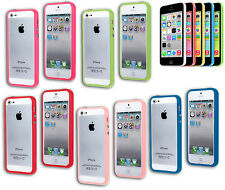 BUMPER COVER CASE FLIP COMPATIBILE IPHONE 5 BOTTONI BLU ROSA VERDE ROSSO FUCSIA