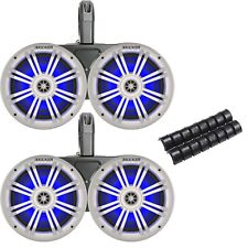 "Kicker Black Waterproof Tower System 6.5"" White Marine Blue LED OEM Speakers"