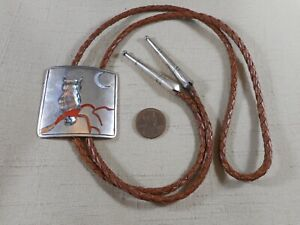 Unusual OLD Zuni silver bolo tie with owl design & handmade tips