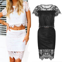 Womens Cocktail Crop Top and High Waisted Bodycon Skirt Two Piece Dress Set Hot