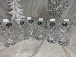 6pc Ralph Lauren Brogan Highball Glasses Lead Crystal 13.7 oz NEW FROM GERMANY
