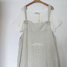 ZEDD..PLUS lässiger 2-Teiler Träger Kleid + Shirt Leinen-BW stein-natur 48-50