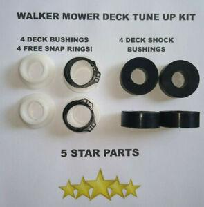WALKER MOWER DECK TUNE UP KIT = 4 BUSHINGS,4 FREE SNAP RINGS & 4 SHOCK BUSHINGS