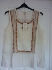 FAT FACE CAMILLA IVORY EMBROIDERED PEPLUM TOP. UK 16, EUR 44, US 12. BNWT SUPERB
