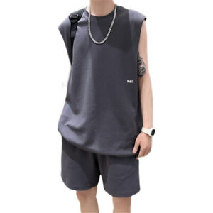 Men's Tracksuit Sets Sleeveless T-shirt Shorts Pants Sports Summer Suits
