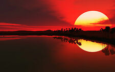 Framed Print - Wicked Red Sky Sunset over a Calm Lake (Picture Poster Art)